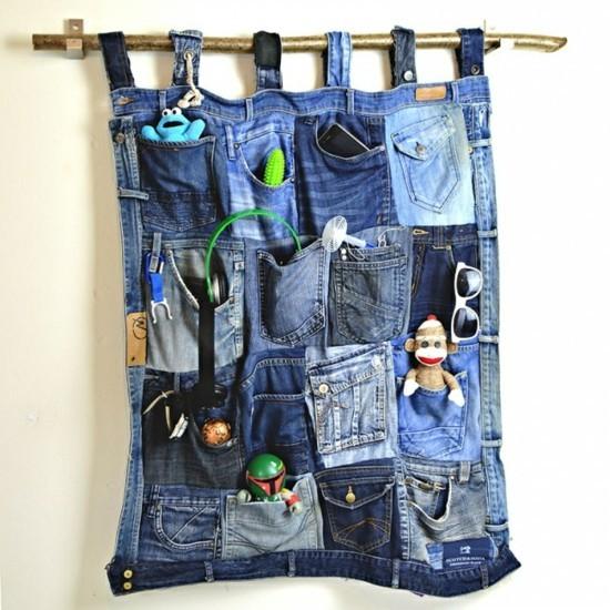 wanddeko ständer jeans upcycling zum nachmachen