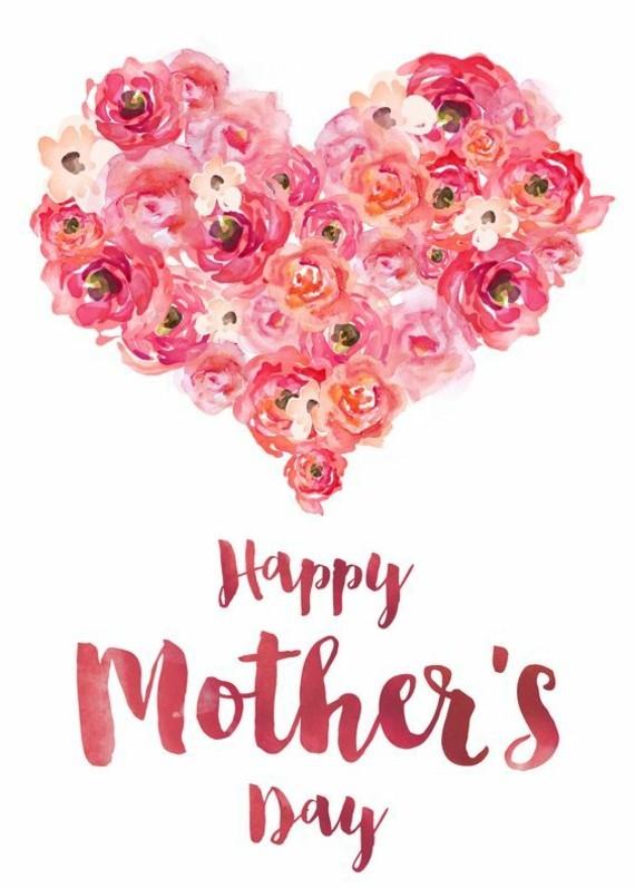 wann ist Muttertag 2019 Grußkarte Herz Rosen