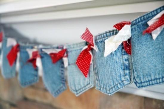 weihnachtsdeko girlande basteln aus alten jeans