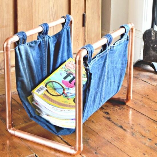 zeitungsständer jeans upcycling ideen
