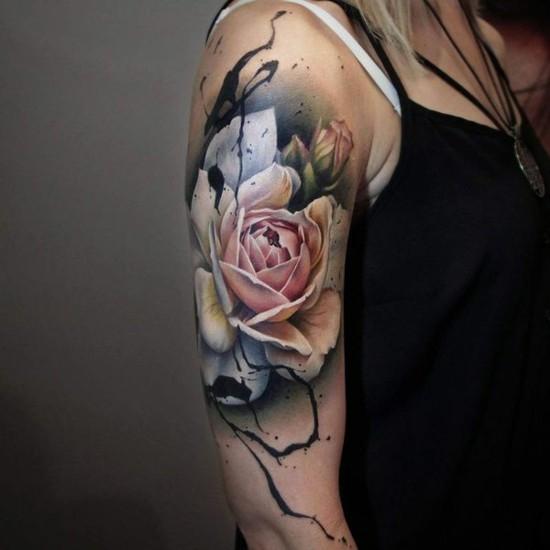 3d rose sleeve tattoo ideen für frauen
