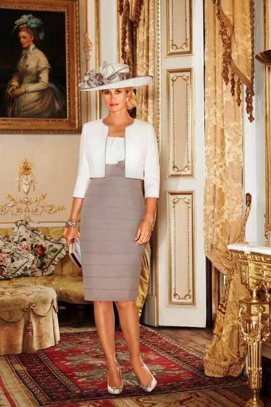 55 festliche Kleider zur Hochzeit für Brautmütter und wichtige Tipps weiß und grau kombi für mutter zur hochzeit