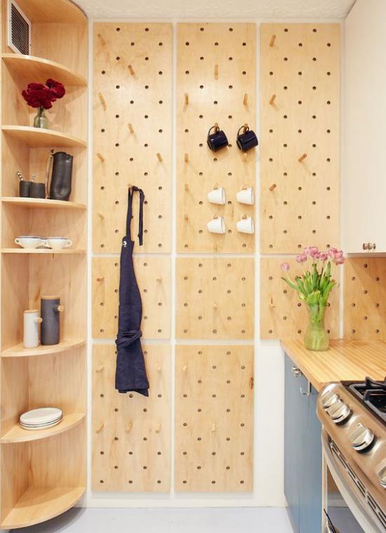 Eckmöbel clevere Lösung mehr Stauraum modernes elegantes Eckregal in der Küche