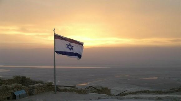 Israel Reisetipps Flagge Sonnenuntergang Jerusalem
