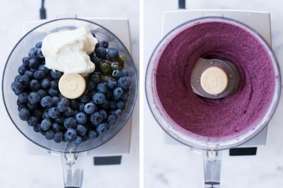 Joghurteis Frozen Joghurt Rezept ohne Eismaschine mit Blaubeeren