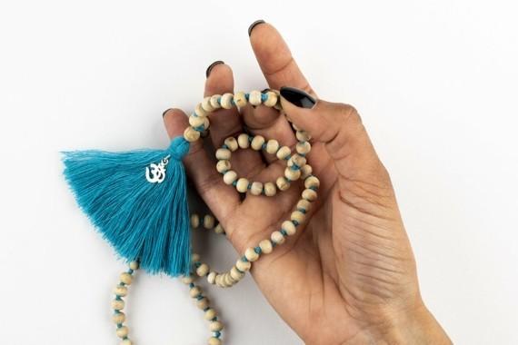 Mala Kette Japa Meditaion Mala Gebetskette Kette mit Quaste blau