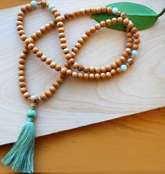 Mala Kette Japa Meditaion Sandalholz Mala Gebetskette
