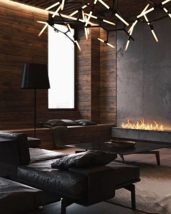 Maskulin und elegant modernes Wohnzimmer Bio-Kamin interessante Beleuchtung