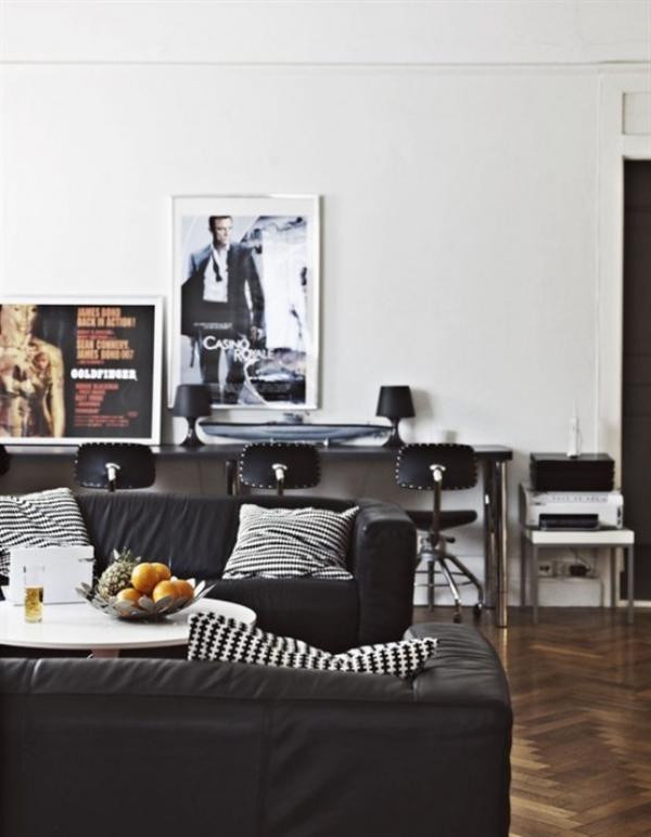 Maskulin und elegant modernes Wohnzimmer Wandposter Deko Kissen weiß schwarz grau