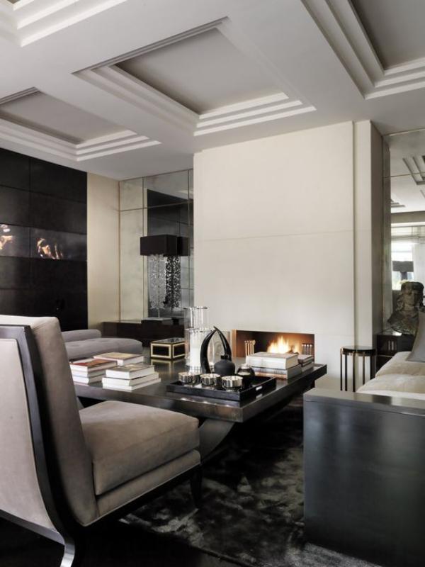 Maskulin und elegant modernes Wohnzimmer bevorzugte Farbpalette grau