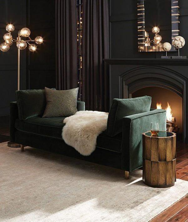 Maskulin und elegant modernes Wohnzimmer dunkle und helle Farben edle und einfache Materialien kombinieren