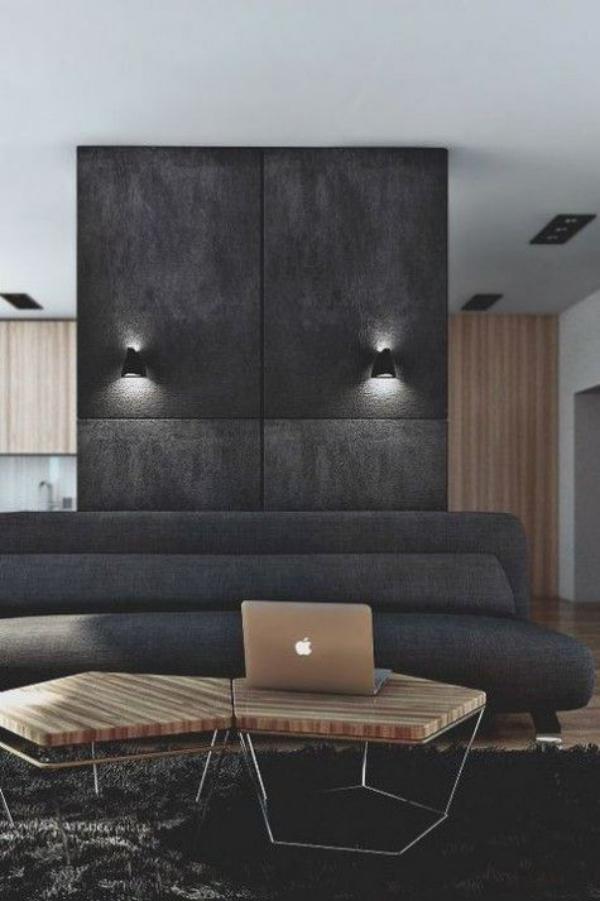 Maskulin und elegant modernes Wohnzimmer einfaches aber stilvolles Design Laptop auf dem Kaffeetisch