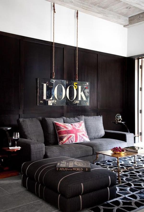 Maskulin und elegant modernes Wohnzimmer grau Deko Elemente luxuriöse Touches
