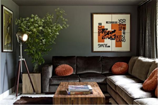 Maskulin und elegant modernes Wohnzimmer grau beige runde Deko Kissen in Pfirsichfarbe