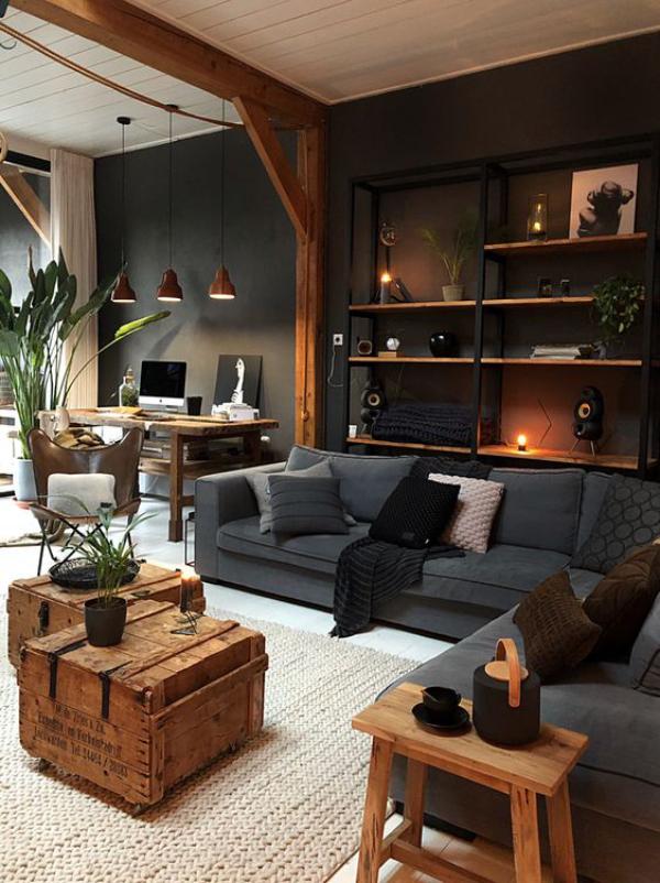 Maskulin und elegant modernes Wohnzimmer helles natürliches Holz dunkle Farben viel Grau
