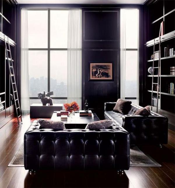 Maskulin und elegant modernes Wohnzimmer klare Linien geometrische Formen perfekter Look