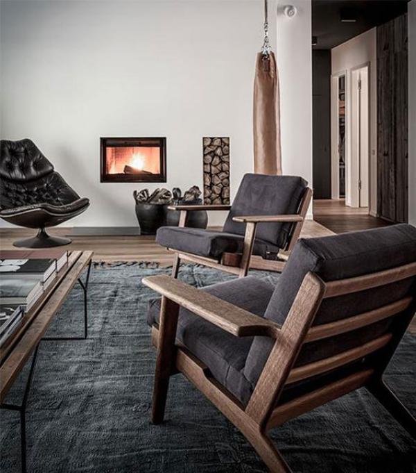 Maskulin und elegant modernes Wohnzimmer klassische und moderne Elemente gepaart