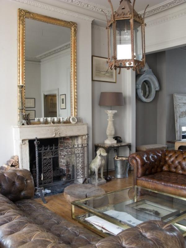 Maskulin und elegant modernes Wohnzimmer klassisches Design viel Raumdekoration