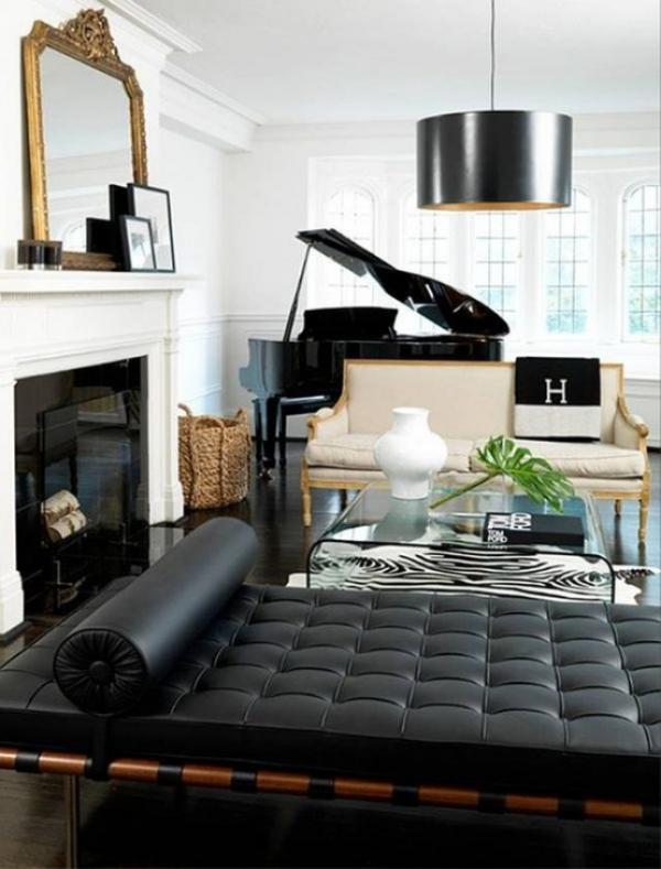 Maskulin und elegant modernes Wohnzimmer weiß schwarz grau dominieren