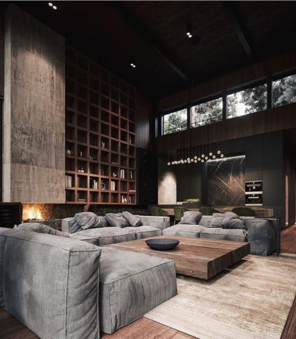 Maskulin und elegant modernes Wohnzimmer