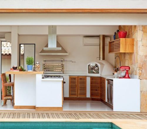 Outdoor Küche überdacht einfaches design Theke essen und trinken im Freien