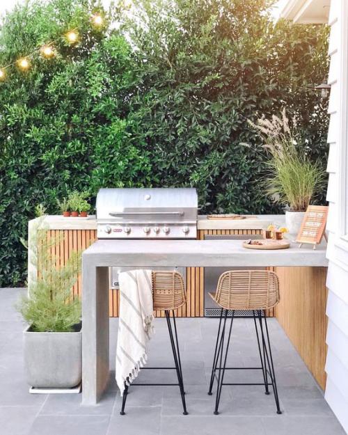 Outdoor Küche Arbeitsplatte Pflanzgefäß aus Beton Grillgerät