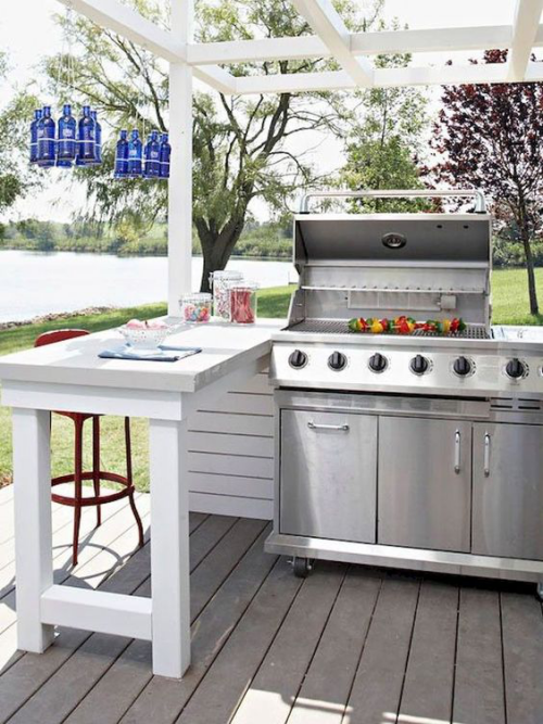 Outdoor Küche auf Rädern einfaches Design Esstisch aus weißem Holz
