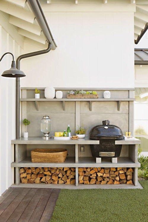 Outdoor Küche einfaches Design Blickfang Kamado