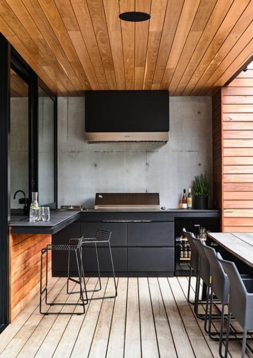 Outdoor Küche sehr modern Küchengestaltung robuste Materialien Überdachung