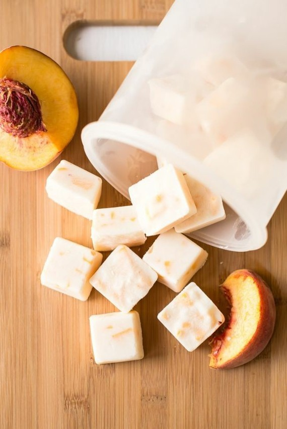 Pfirsicht Joghurteis Würfeln Frozen Joghurt Rezept ohne Eismaschine