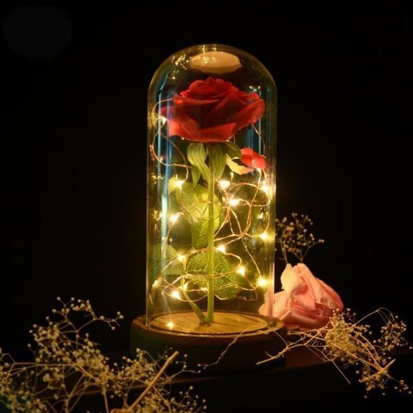 Rose im Glas ideen mit kleiner Lichterkette dekoriert toller Blickfang