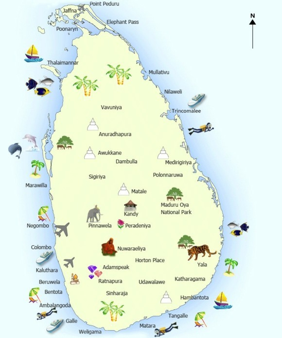 sri lanka tourist map Sri Lanka Tourism Attractions Map