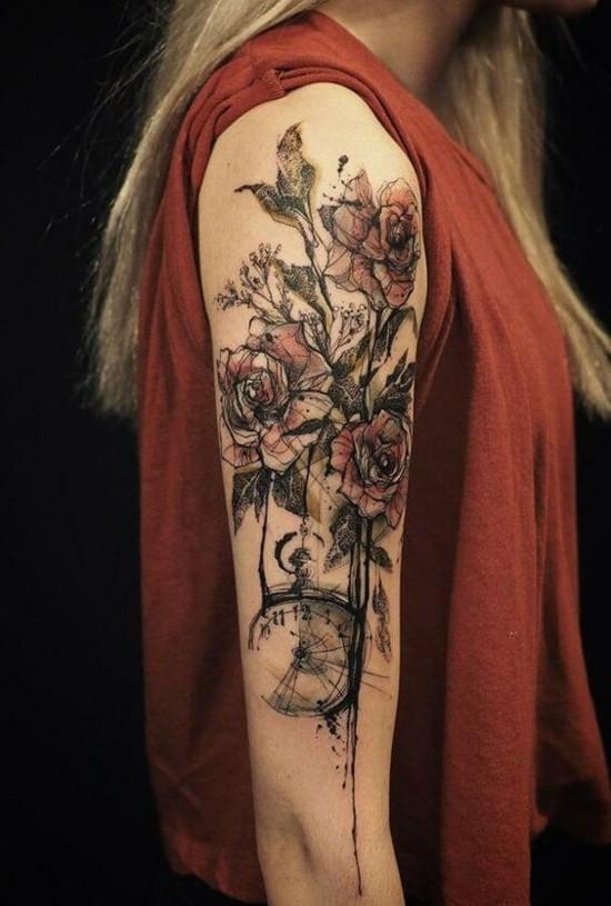 aquarell sleeve tattoo ideen für frauen