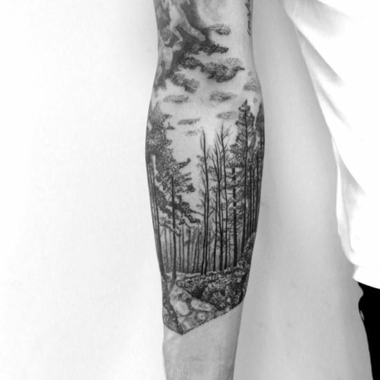 blackwork wald sleeve tattoo ideen