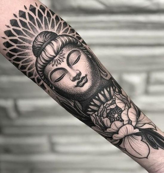 buddha sleeve tattoo ideen