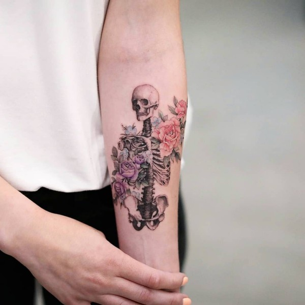 ein skelett tattoo ideen