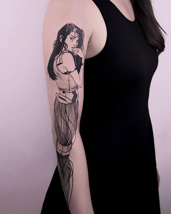 eine frau am arm tattoo ideen