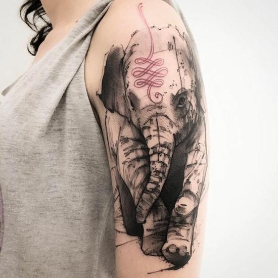 elefant indien sleeve tattoo ideen