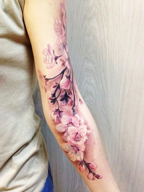 frühlingsweige sleeve tattoo ideen für frauen