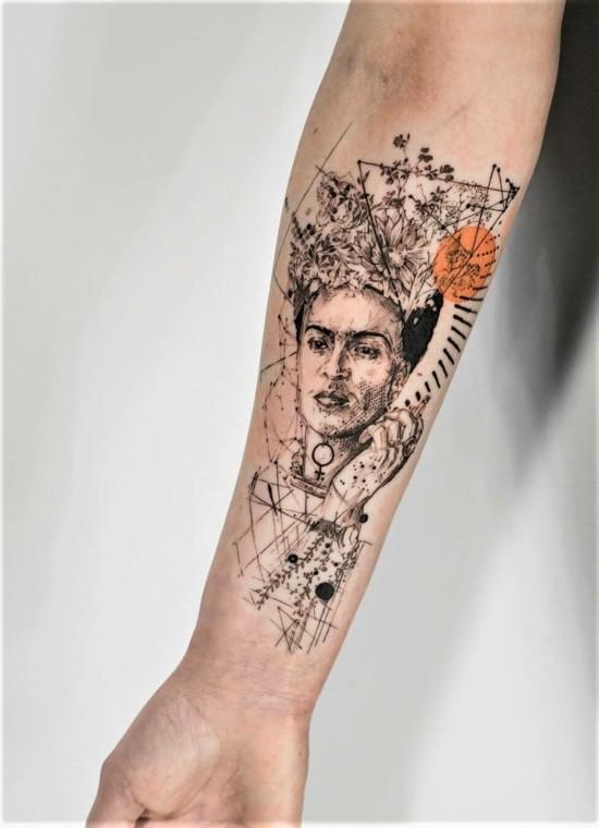 frida kahlo sleeve tattoo ideen