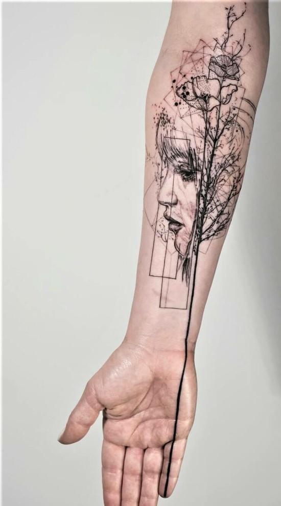 grafische sleeve tattoo ideen für frauen