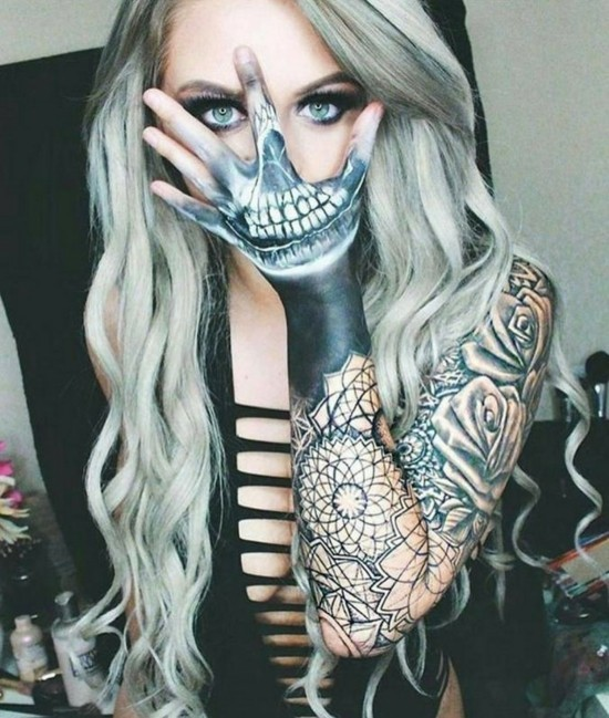 gruselige sleeve tattoo ideen