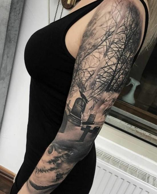halloween gothik sleeve tattoo ideen