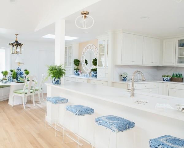 hellblaue Sitzkissen Küchentrends 2019