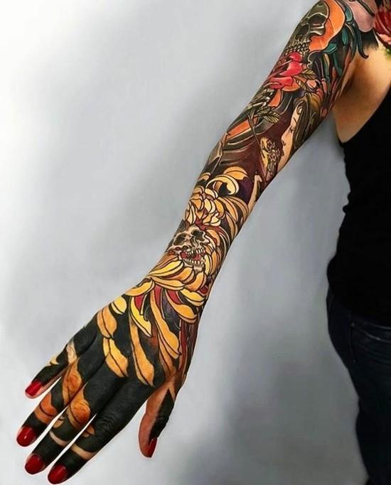 japanische lange sleeve tattoo ideen bunt