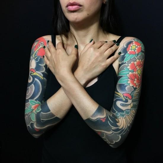 japanische sleeve tattoo ideen für frauen