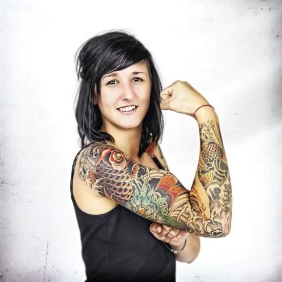 koi sleeve tattoo ideen für frauen
