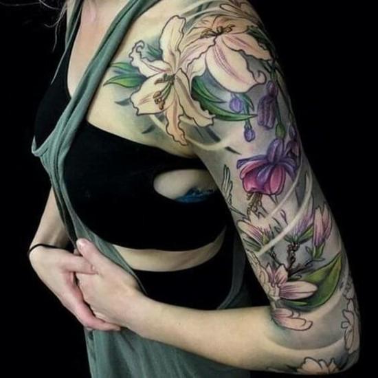 lilien sleeve tattoo ideen