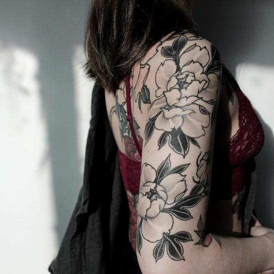 pfingstrosen sleeve tattoo ideen