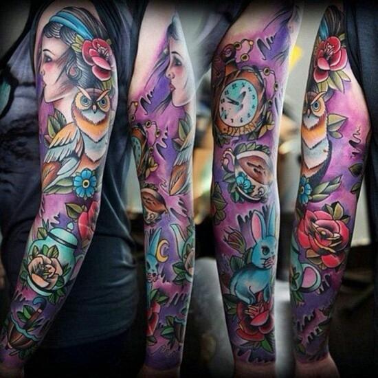 sleeve tattoo ideen für frauen märchen